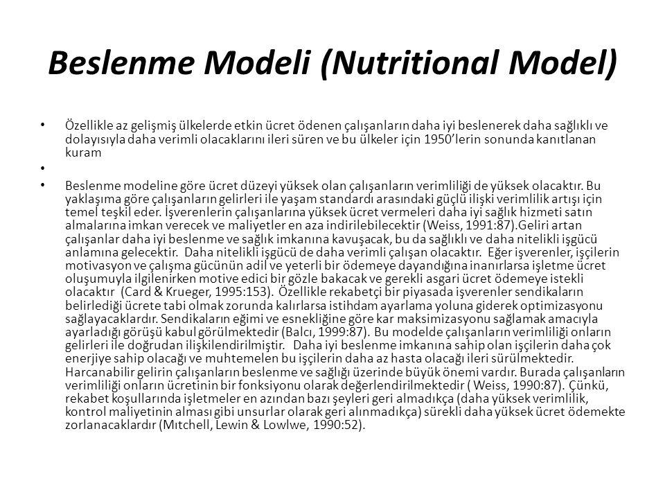Beslenme Modeli (Nutritional Model) Özellikle az gelişmiş ülkelerde etkin ücret ödenen çalışanların daha iyi beslenerek daha sağlıklı ve dolayısıyla d