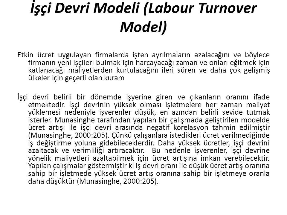 İşçi Devri Modeli (Labour Turnover Model) Etkin ücret uygulayan firmalarda işten ayrılmaların azalacağını ve böylece firmanın yeni işçileri bulmak içi