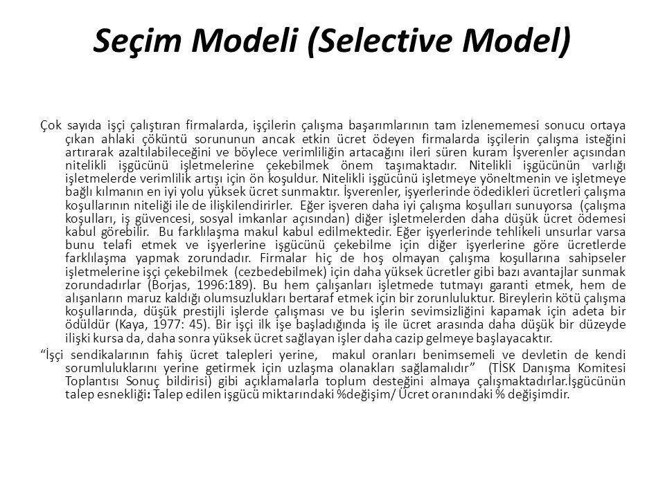Seçim Modeli (Selective Model) Çok sayıda işçi çalıştıran firmalarda, işçilerin çalışma başarımlarının tam izlenememesi sonucu ortaya çıkan ahlaki çök