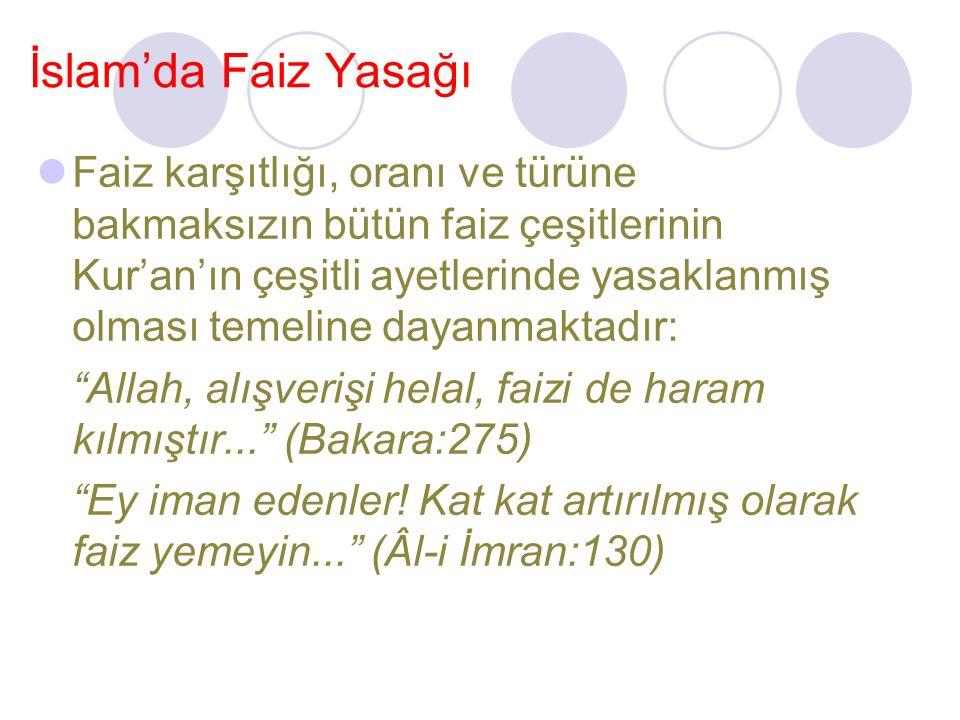 İslam'da Faiz Yasağı Faiz karşıtlığı, oranı ve türüne bakmaksızın bütün faiz çeşitlerinin Kur'an'ın çeşitli ayetlerinde yasaklanmış olması temeline dayanmaktadır: Allah, alışverişi helal, faizi de haram kılmıştır... (Bakara:275) Ey iman edenler.