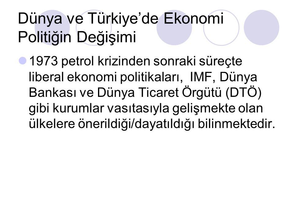 Dünya ve Türkiye'de Ekonomi Politiğin Değişimi 1973 petrol krizinden sonraki süreçte liberal ekonomi politikaları, IMF, Dünya Bankası ve Dünya Ticaret Örgütü (DTÖ) gibi kurumlar vasıtasıyla gelişmekte olan ülkelere önerildiği/dayatıldığı bilinmektedir.