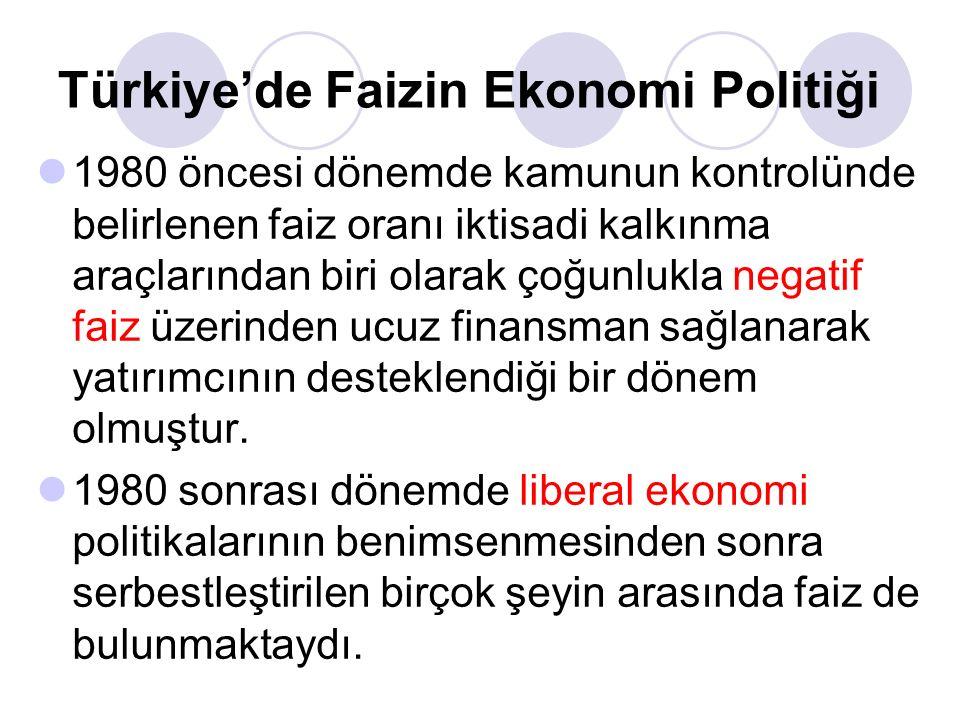 Türkiye'de Faizin Ekonomi Politiği 1980 öncesi dönemde kamunun kontrolünde belirlenen faiz oranı iktisadi kalkınma araçlarından biri olarak çoğunlukla negatif faiz üzerinden ucuz finansman sağlanarak yatırımcının desteklendiği bir dönem olmuştur.