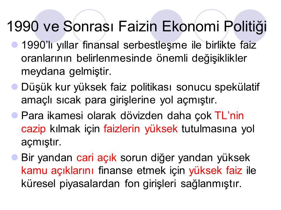 1990 ve Sonrası Faizin Ekonomi Politiği 1990'lı yıllar finansal serbestleşme ile birlikte faiz oranlarının belirlenmesinde önemli değişiklikler meydana gelmiştir.
