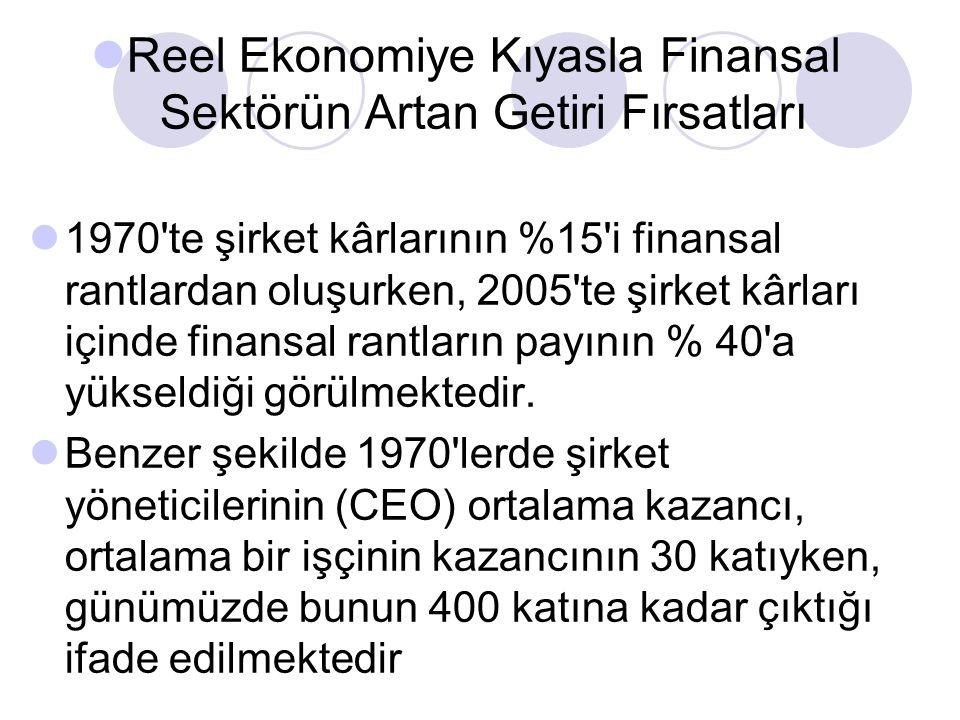 Reel Ekonomiye Kıyasla Finansal Sektörün Artan Getiri Fırsatları 1970 te şirket kârlarının %15 i finansal rantlardan oluşurken, 2005 te şirket kârları içinde finansal rantların payının % 40 a yükseldiği görülmektedir.