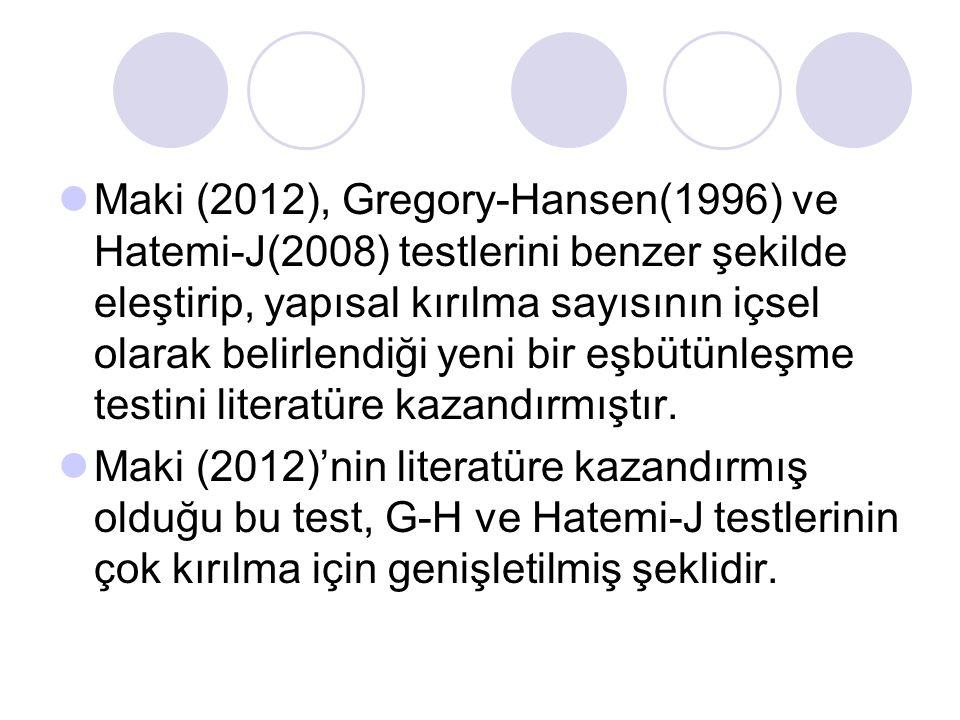 Maki (2012), Gregory-Hansen(1996) ve Hatemi-J(2008) testlerini benzer şekilde eleştirip, yapısal kırılma sayısının içsel olarak belirlendiği yeni bir eşbütünleşme testini literatüre kazandırmıştır.