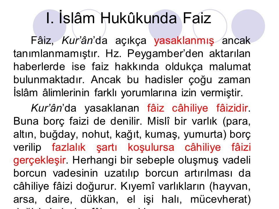 I.İslâm Hukûkunda Faiz Fâiz, Kur'ân'da açıkça yasaklanmış ancak tanımlanmamıştır.