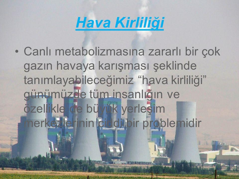 Hava Kirliliği Canlı metabolizmasına zararlı bir çok gazın havaya karışması şeklinde tanımlayabileceğimiz hava kirliliği günümüzde tüm insanlığın ve özellikle de büyük yerleşim merkezlerinin ciddi bir problemidir