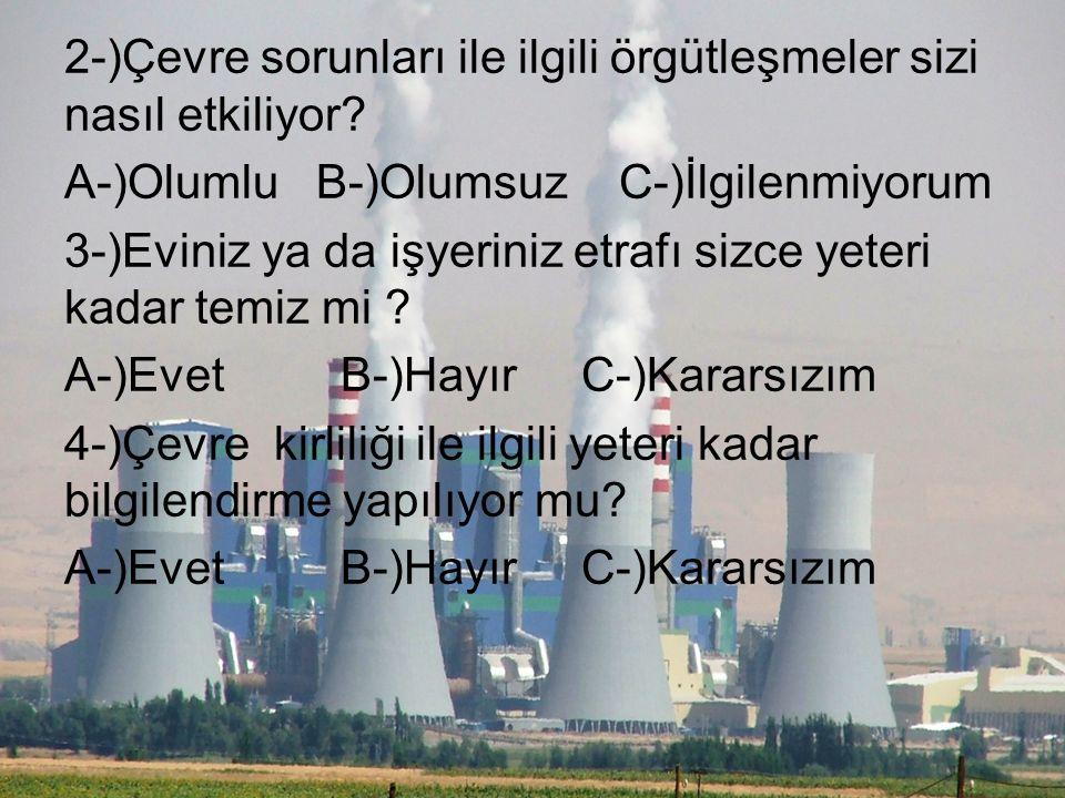 1-)Sizi en çok hangi tür kirlilik rahatsız eder? A-)Hava Kirliliği B-)Su Kirliliği C-)Gürültü Kirliliği D-)Toprak Kirliliği E-)Radyasyon Kirliliği F-)