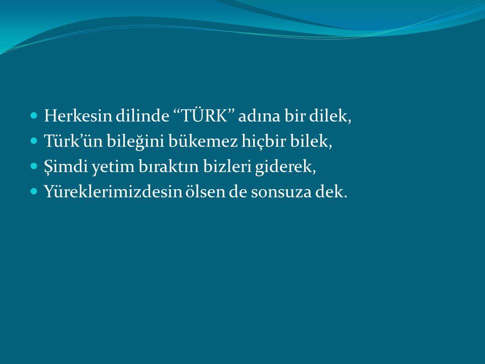 Herkesin dilinde ''TÜRK'' adına bir dilek, Türk'ün bileğini bükemez hiçbir bilek, Şimdi yetim bıraktın bizleri giderek, Yüreklerimizdesin ölsen de son