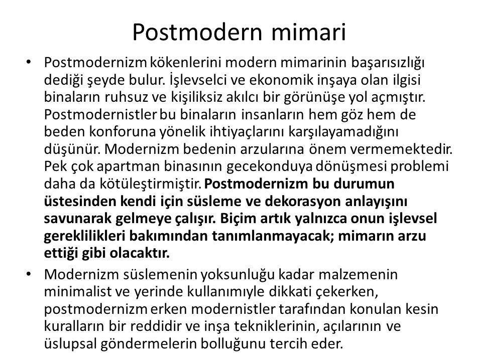 Postmodern mimari Postmodernizm kökenlerini modern mimarinin başarısızlığı dediği şeyde bulur.