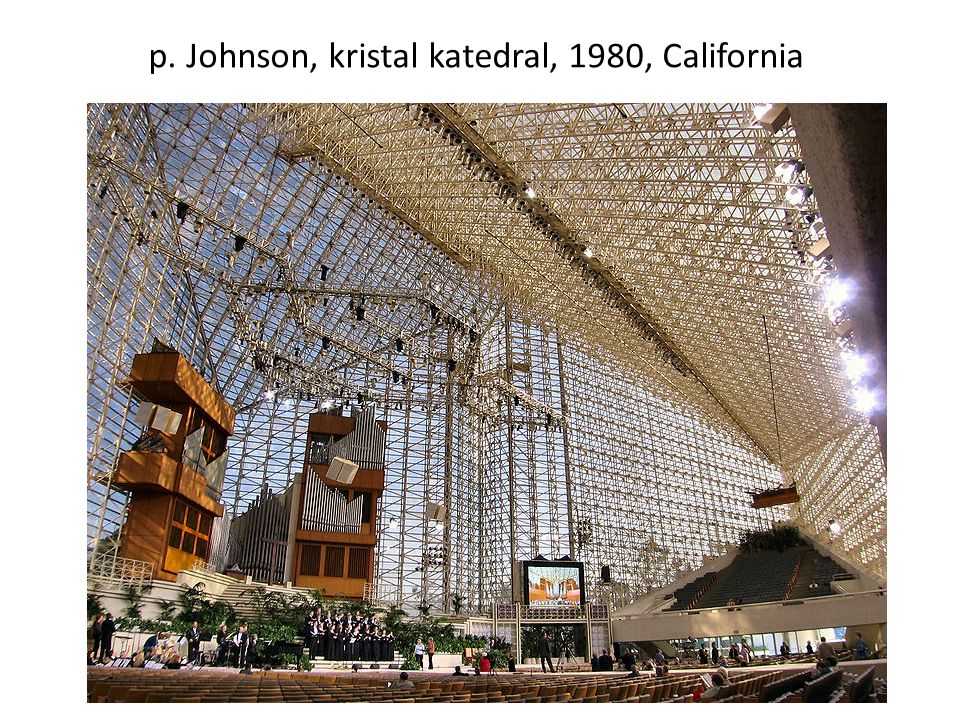 p. Johnson, kristal katedral, 1980, California