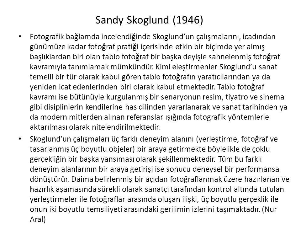 Sandy Skoglund (1946) Fotografik bağlamda incelendiğinde Skoglund'un çalışmalarını, icadından günümüze kadar fotoğraf pratiği içerisinde etkin bir biçimde yer almış başlıklardan biri olan tablo fotoğraf bir başka deyişle sahnelenmiş fotoğraf kavramıyla tanımlamak mümkündür.