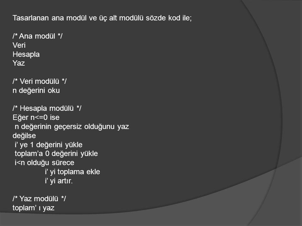 Tasarlanan ana modül ve üç alt modülü sözde kod ile; /* Ana modül */ Veri Hesapla Yaz /* Veri modülü */ n değerini oku /* Hesapla modülü */ Eğer n<=0 ise n değerinin geçersiz olduğunu yaz değilse i' ye 1 değerini yükle toplam'a 0 değerini yükle i<n olduğu sürece i' yi toplama ekle i' yi artır.