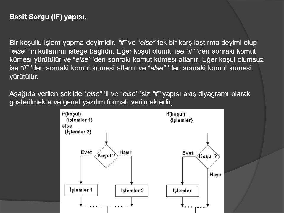 Basit Sorgu (IF) yapısı. Bir koşullu işlem yapma deyimidir.