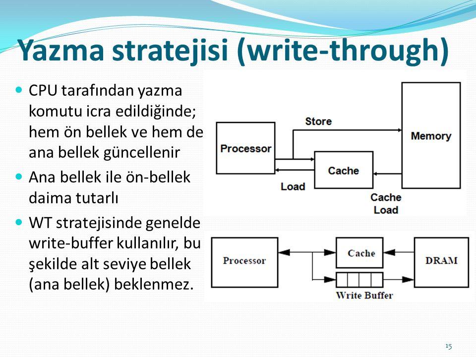 Yazma stratejisi (write-through) 15 CPU tarafından yazma komutu icra edildiğinde; hem ön bellek ve hem de ana bellek güncellenir Ana bellek ile ön-bel