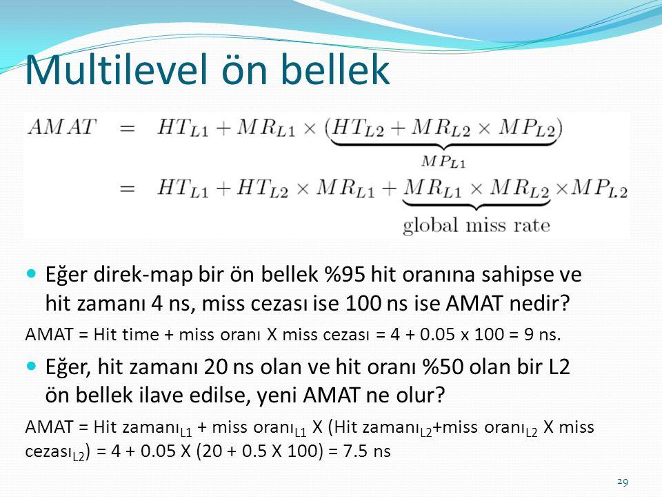 Multilevel ön bellek 29 Eğer direk-map bir ön bellek %95 hit oranına sahipse ve hit zamanı 4 ns, miss cezası ise 100 ns ise AMAT nedir? AMAT = Hit tim