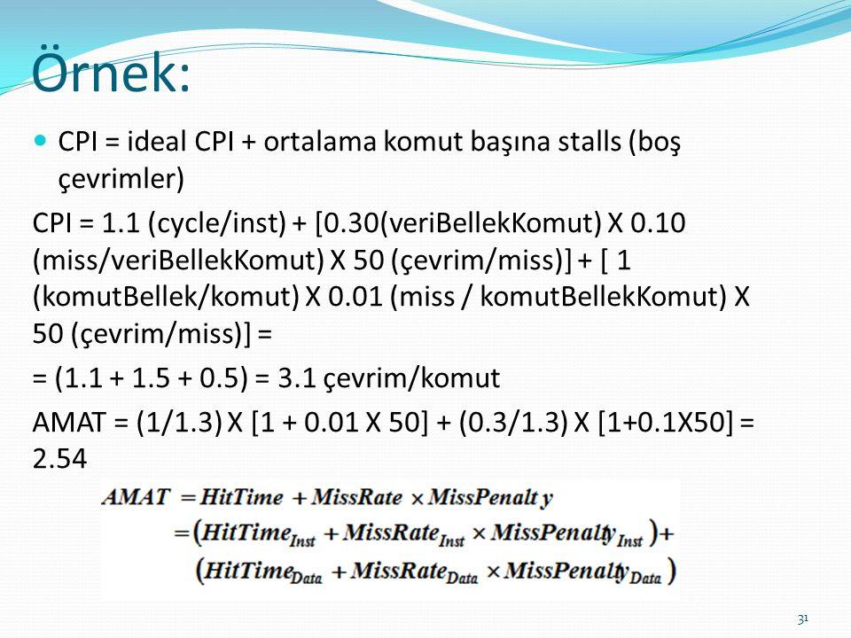 Örnek: 31 CPI = ideal CPI + ortalama komut başına stalls (boş çevrimler) CPI = 1.1 (cycle/inst) + [0.30(veriBellekKomut) X 0.10 (miss/veriBellekKomut)