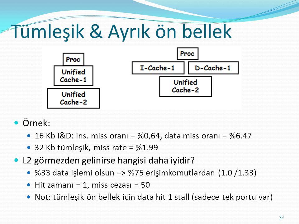 Tümleşik & Ayrık ön bellek 32 Örnek: 16 Kb I&D: ins. miss oranı = %0,64, data miss oranı = %6.47 32 Kb tümleşik, miss rate = %1.99 L2 görmezden gelini