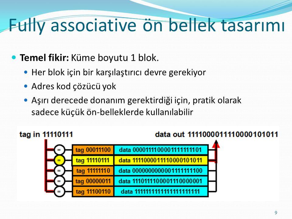 Fully associative ön bellek tasarımı 9 Temel fikir: Küme boyutu 1 blok. Her blok için bir karşılaştırıcı devre gerekiyor Adres kod çözücü yok Aşırı de