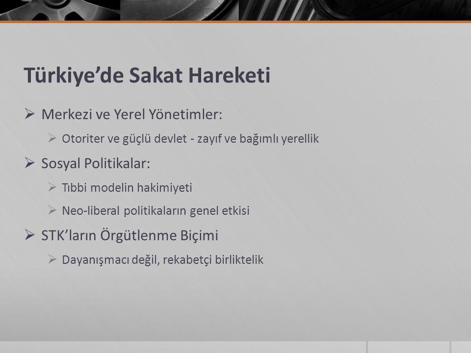 Türkiye'de Sakat Hareketi  Merkezi ve Yerel Yönetimler:  Otoriter ve güçlü devlet - zayıf ve bağımlı yerellik  Sosyal Politikalar:  Tıbbi modelin hakimiyeti  Neo-liberal politikaların genel etkisi  STK'ların Örgütlenme Biçimi  Dayanışmacı değil, rekabetçi birliktelik