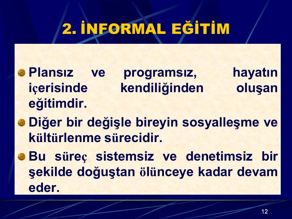 2. İNFORMAL EĞİTİM Plansız ve programsız, hayatın i ç erisinde kendiliğinden oluşan eğitimdir.