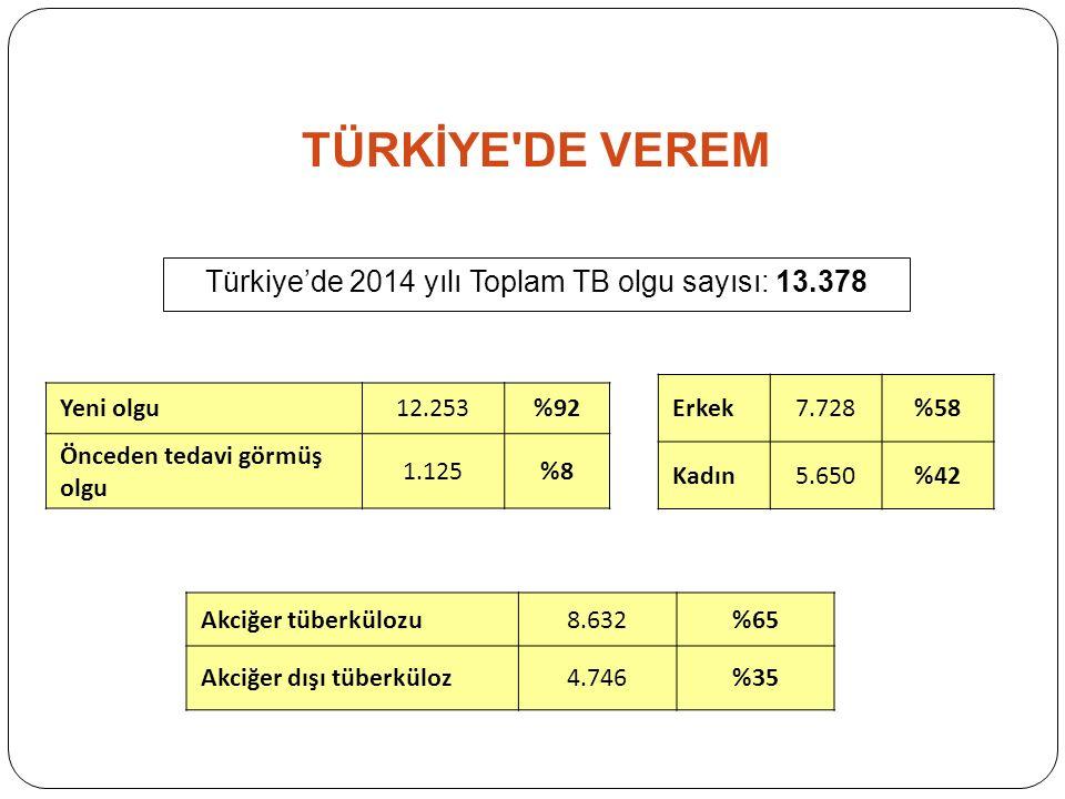 TÜRKİYE DE VEREM Türkiye'de 2014 yılı Toplam TB olgu sayısı: 13.378 Erkek7.728%58 Kadın5.650%42 Akciğer tüberkülozu8.632%65 Akciğer dışı tüberküloz4.746%35 Yeni olgu12.253%92 Önceden tedavi görmüş olgu 1.125%8