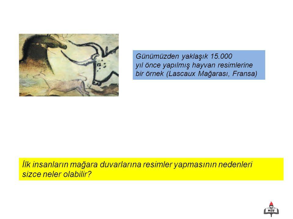 12 Günümüzden yaklaşık 15.000 yıl önce yapılmış hayvan resimlerine bir örnek (Lascaux Mağarası, Fransa) İlk insanların mağara duvarlarına resimler yap