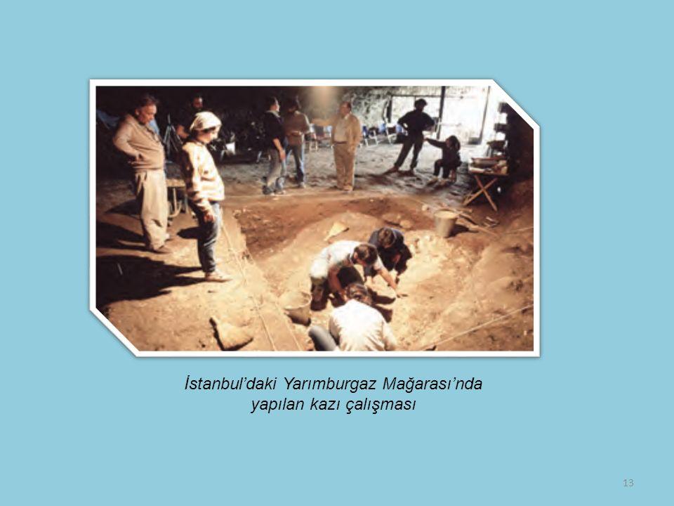 13 İstanbul'daki Yarımburgaz Mağarası'nda yapılan kazı çalışması