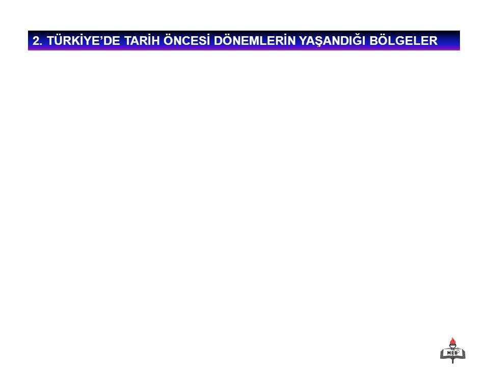 28 2. TÜRKİYE'DE TARİH ÖNCESİ DÖNEMLERİN YAŞANDIĞI BÖLGELER