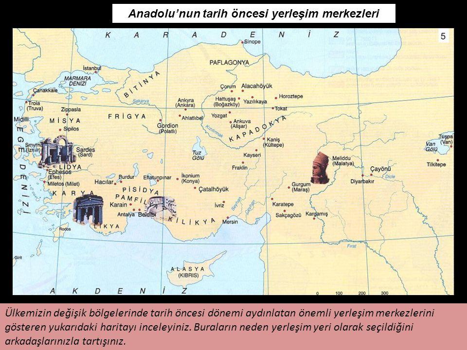 29 Anadolu'nun tarih öncesi yerleşim merkezleri Ülkemizin değişik bölgelerinde tarih öncesi dönemi aydınlatan önemli yerleşim merkezlerini gösteren yu