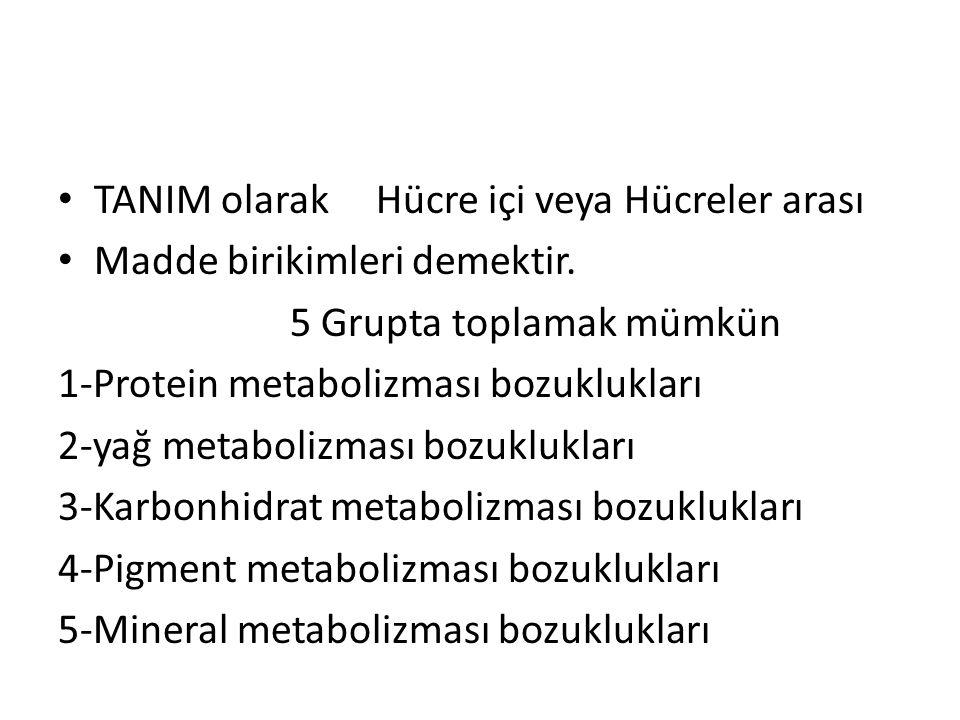 TANIM olarak Hücre içi veya Hücreler arası Madde birikimleri demektir. 5 Grupta toplamak mümkün 1-Protein metabolizması bozuklukları 2-yağ metabolizma