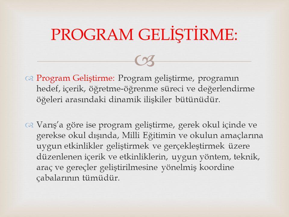  Program Geliştirme: Program geliştirme, programın hedef, içerik, öğretme-öğrenme süreci ve değerlendirme öğeleri arasındaki dinamik ilişkiler bütü