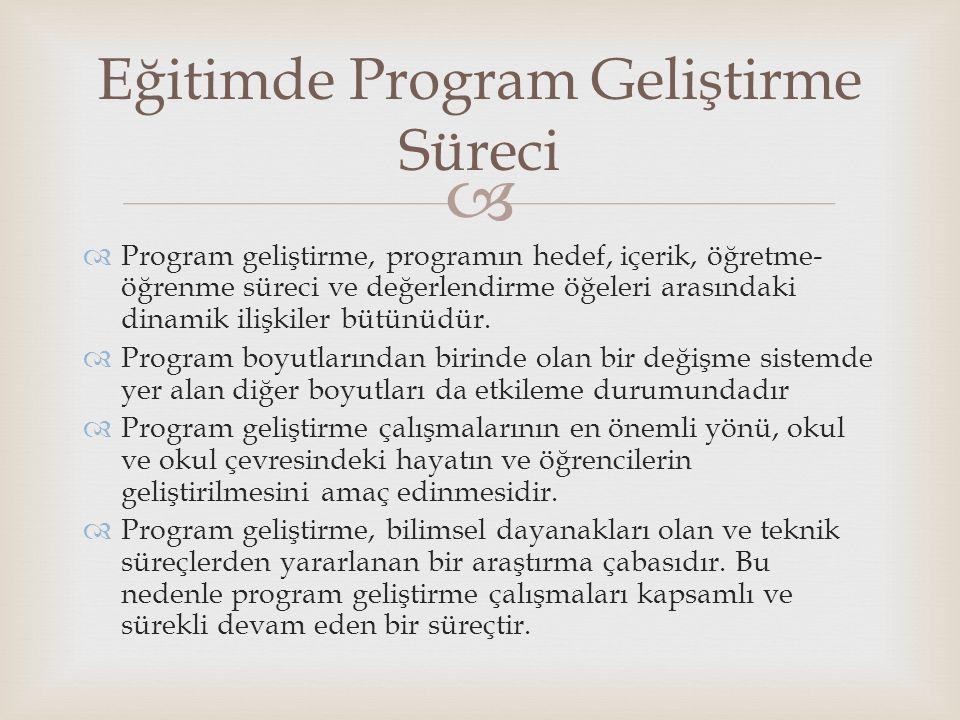   Program geliştirme, programın hedef, içerik, öğretme- öğrenme süreci ve değerlendirme öğeleri arasındaki dinamik ilişkiler bütünüdür.  Program bo