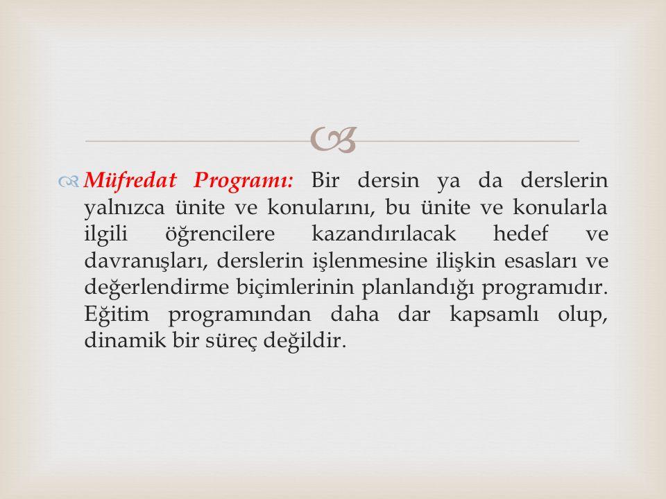   Müfredat Programı: Bir dersin ya da derslerin yalnızca ünite ve konularını, bu ünite ve konularla ilgili öğrencilere kazandırılacak hedef ve davra