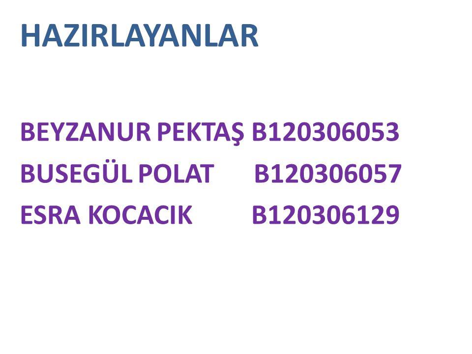 HAZIRLAYANLAR BEYZANUR PEKTAŞ B120306053 BUSEGÜL POLAT B120306057 ESRA KOCACIK B120306129