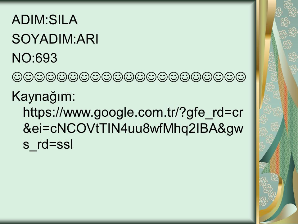 ADIM:SILA SOYADIM:ARI NO:693 Kaynağım: https://www.google.com.tr/?gfe_rd=cr &ei=cNCOVtTIN4uu8wfMhq2IBA&gw s_rd=ssl