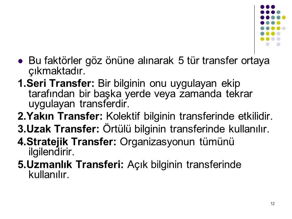 12 Bu faktörler göz önüne alınarak 5 tür transfer ortaya çıkmaktadır. 1.Seri Transfer: Bir bilginin onu uygulayan ekip tarafından bir başka yerde veya