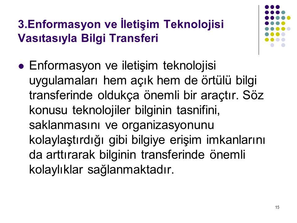 15 3.Enformasyon ve İletişim Teknolojisi Vasıtasıyla Bilgi Transferi Enformasyon ve iletişim teknolojisi uygulamaları hem açık hem de örtülü bilgi transferinde oldukça önemli bir araçtır.