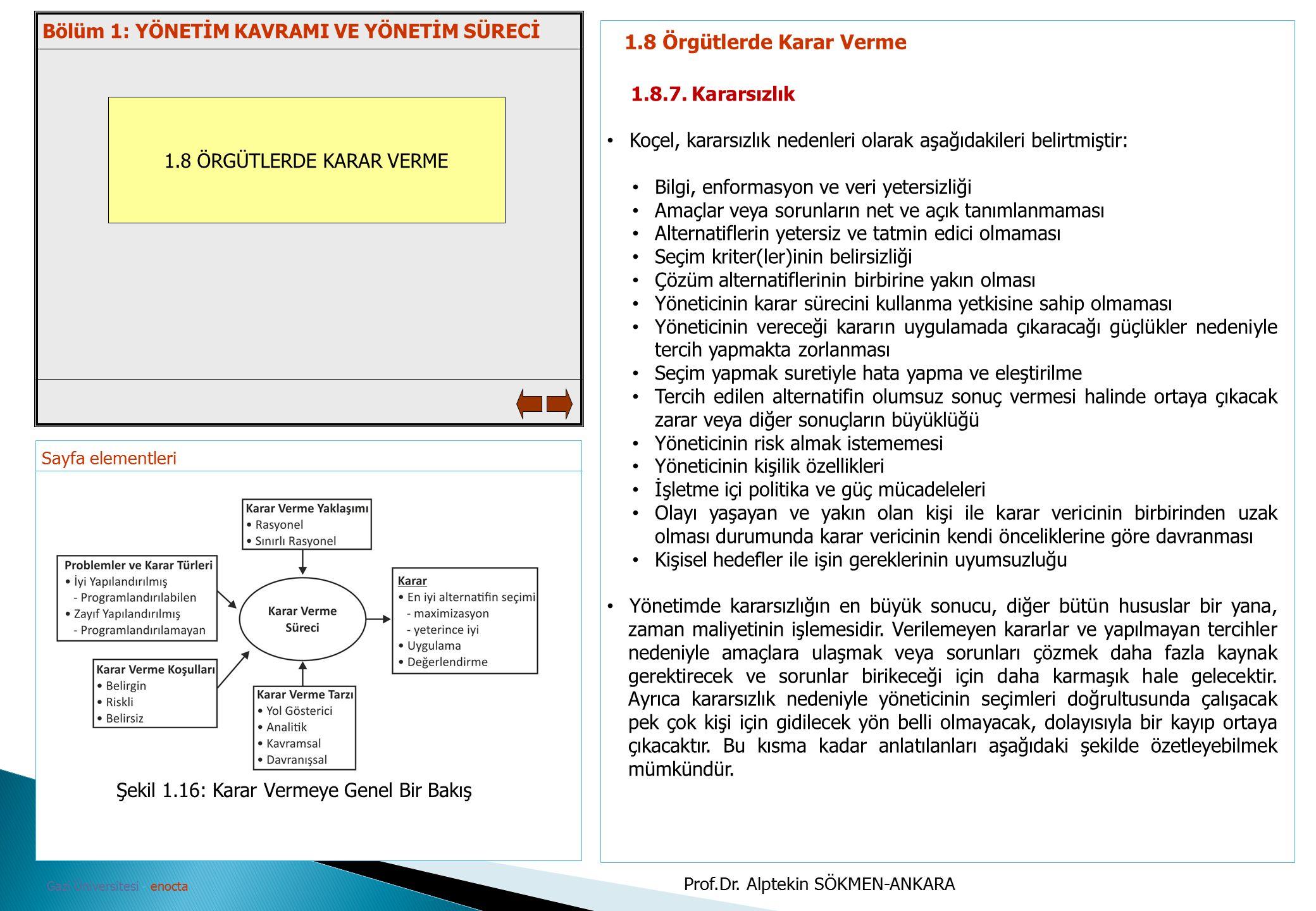 Sayfa elementleri Gazi Üniversitesi - enocta 1.8 ÖRGÜTLERDE KARAR VERME 1.8 Örgütlerde Karar Verme 1.8.7. Kararsızlık Koçel, kararsızlık nedenleri ola