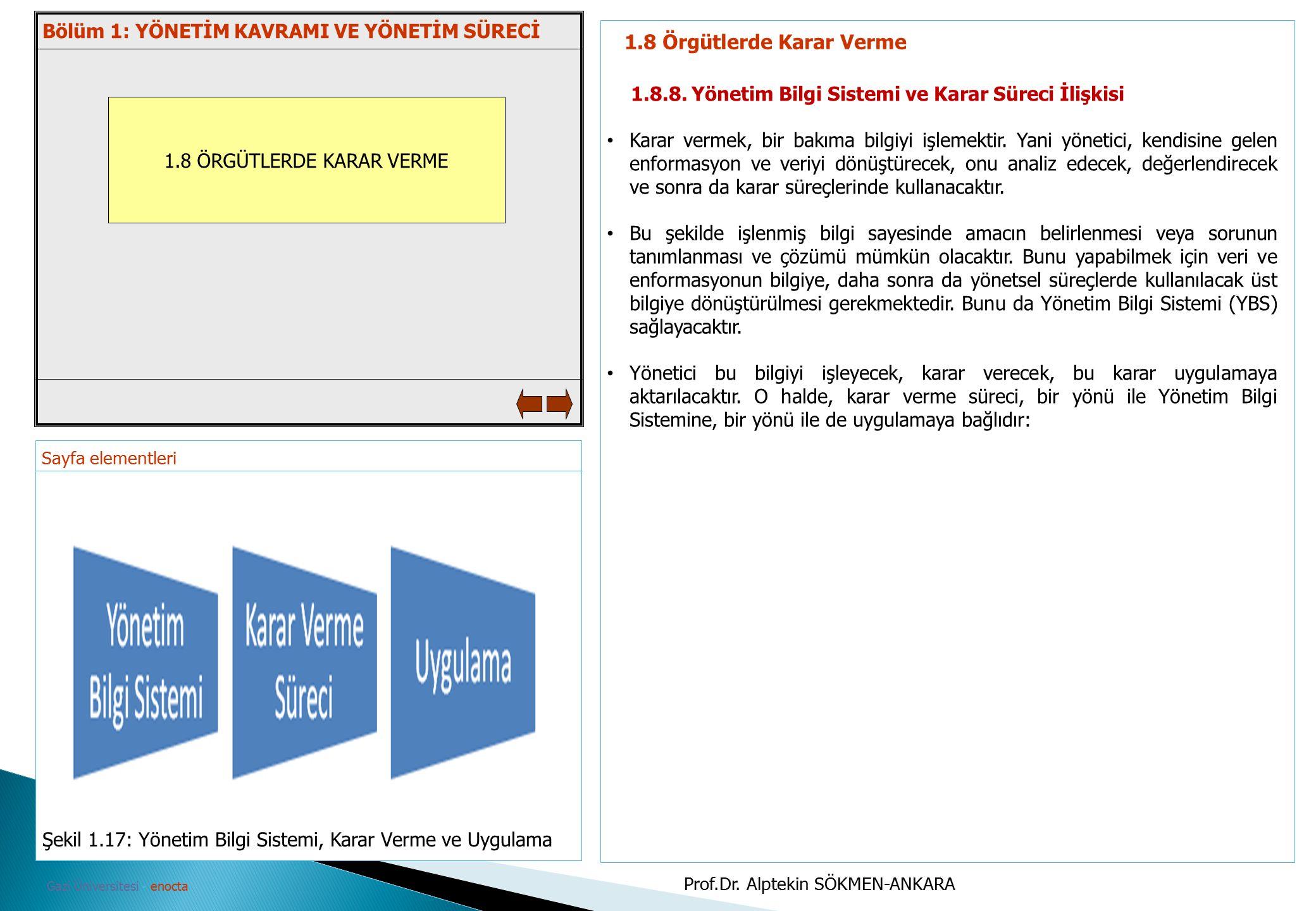 Sayfa elementleri Gazi Üniversitesi - enocta 1.8 ÖRGÜTLERDE KARAR VERME 1.8 Örgütlerde Karar Verme 1.8.8. Yönetim Bilgi Sistemi ve Karar Süreci İlişki