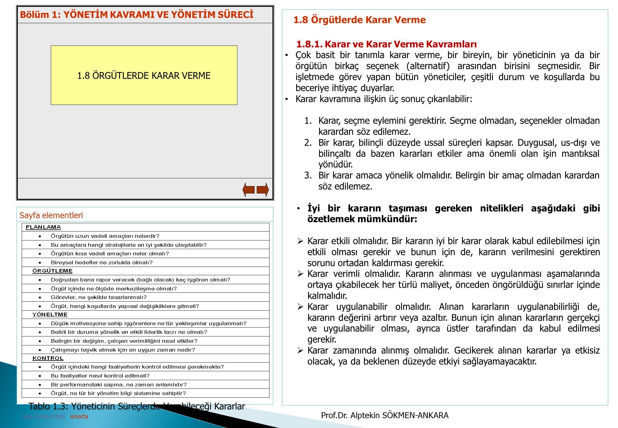 Sayfa elementleri Gazi Üniversitesi - enocta 1.8 ÖRGÜTLERDE KARAR VERME 1.8 Örgütlerde Karar Verme 1.8.1. Karar ve Karar Verme Kavramları Çok basit bi