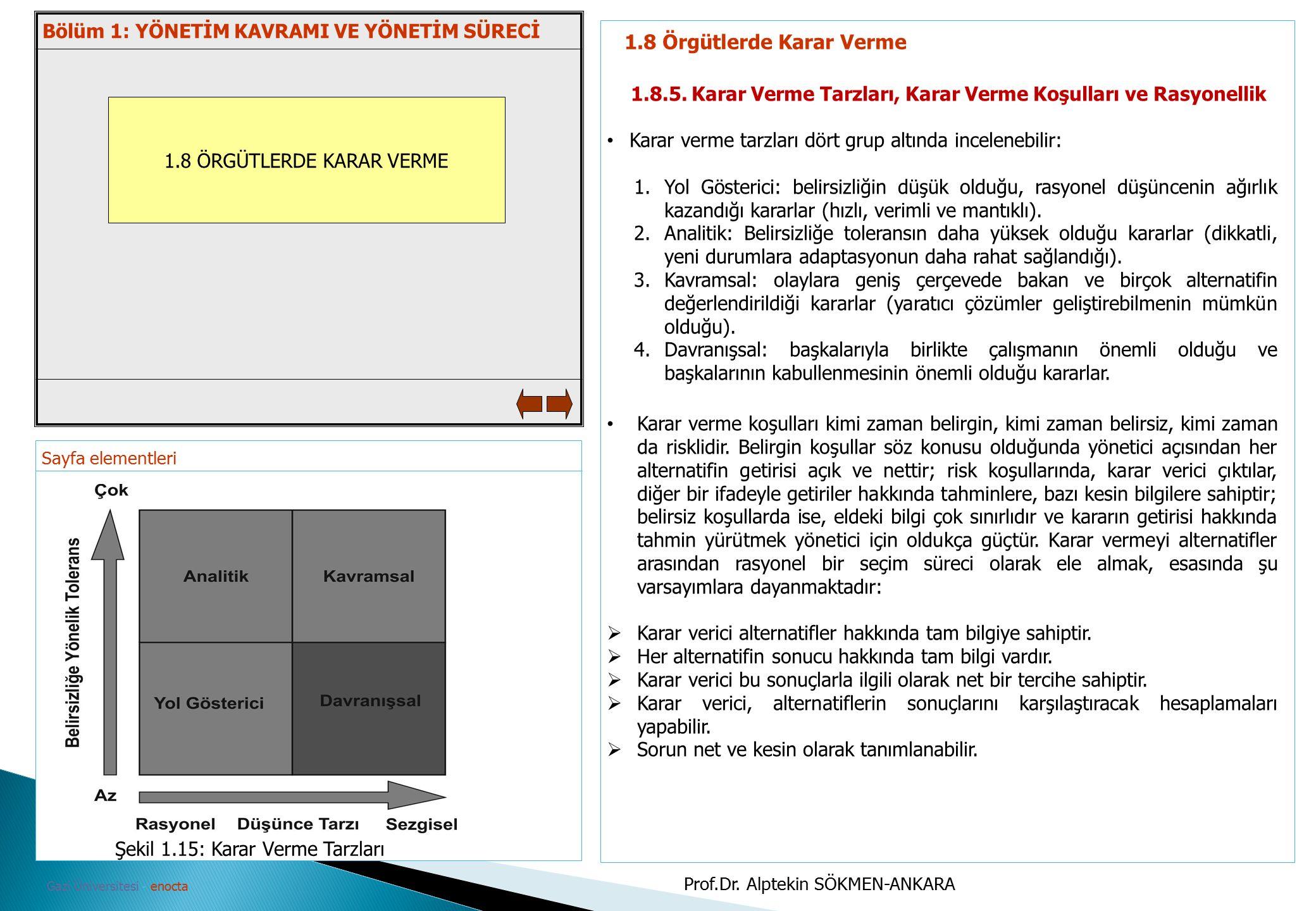 Sayfa elementleri Gazi Üniversitesi - enocta 1.8 ÖRGÜTLERDE KARAR VERME 1.8 Örgütlerde Karar Verme 1.8.5. Karar Verme Tarzları, Karar Verme Koşulları