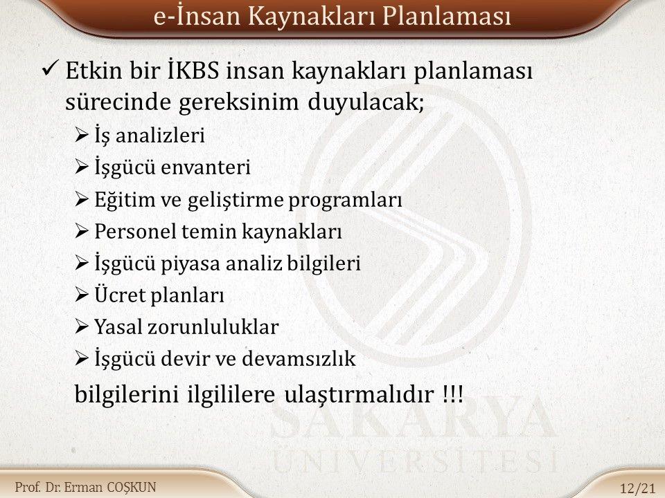 Prof. Dr. Erman COŞKUN e-İnsan Kaynakları Planlaması Etkin bir İKBS insan kaynakları planlaması sürecinde gereksinim duyulacak;  İş analizleri  İşgü