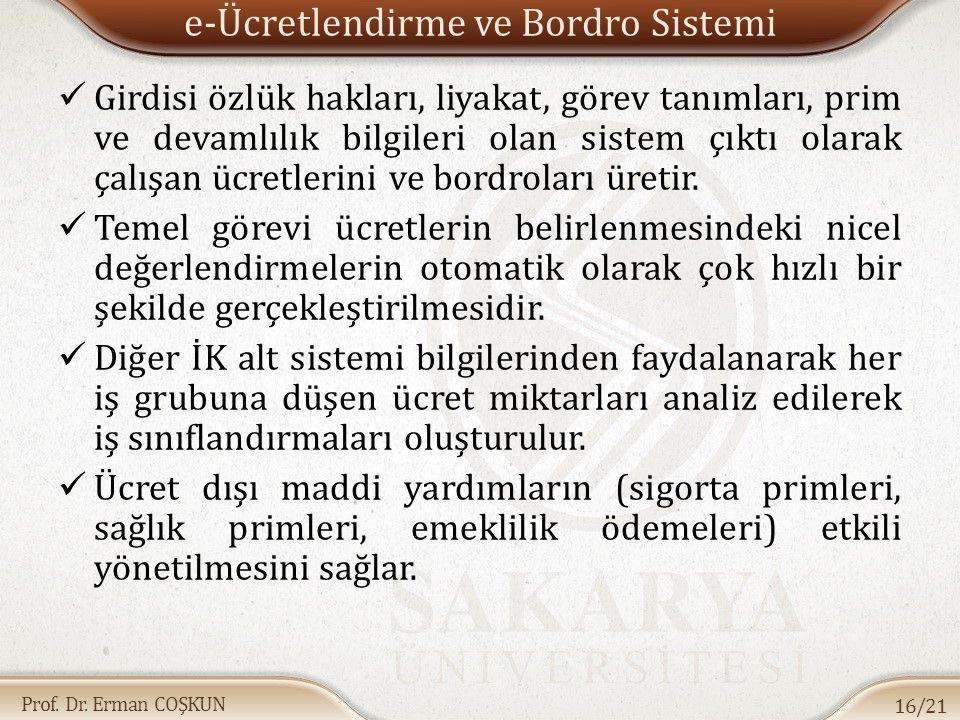 Prof. Dr. Erman COŞKUN e-Ücretlendirme ve Bordro Sistemi Girdisi özlük hakları, liyakat, görev tanımları, prim ve devamlılık bilgileri olan sistem çık