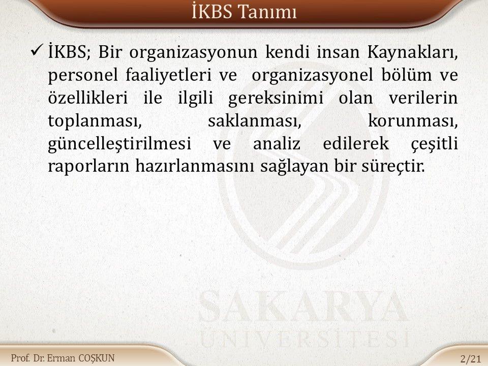 Prof. Dr. Erman COŞKUN İKBS Tanımı İKBS; Bir organizasyonun kendi insan Kaynakları, personel faaliyetleri ve organizasyonel bölüm ve özellikleri ile i