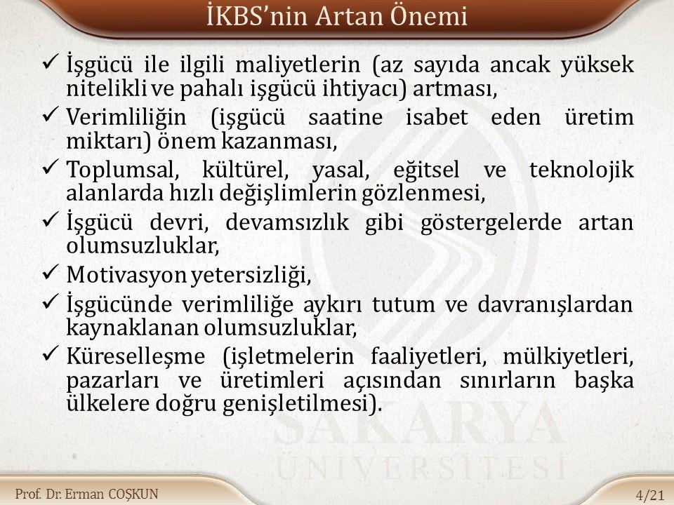 Prof. Dr. Erman COŞKUN İKBS'nin Artan Önemi İşgücü ile ilgili maliyetlerin (az sayıda ancak yüksek nitelikli ve pahalı işgücü ihtiyacı) artması, Verim