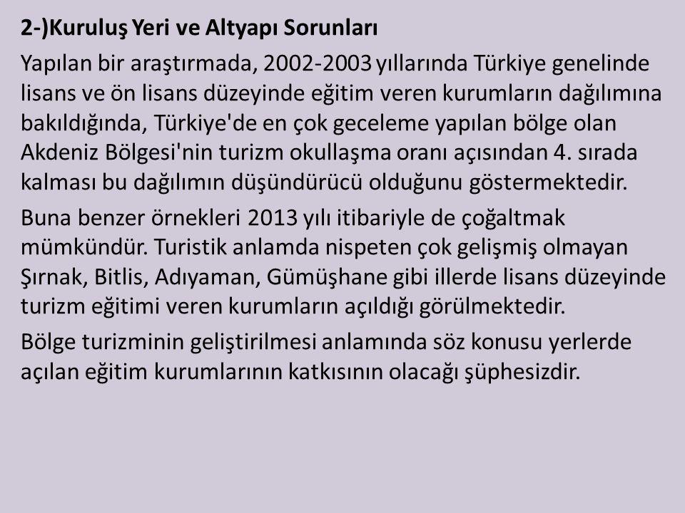 2-)Kuruluş Yeri ve Altyapı Sorunları Yapılan bir araştırmada, 2002-2003 yıllarında Türkiye genelinde lisans ve ön lisans düzeyinde eğitim veren kurumların dağılımına bakıldığında, Türkiye de en çok geceleme yapılan bölge olan Akdeniz Bölgesi nin turizm okullaşma oranı açısından 4.