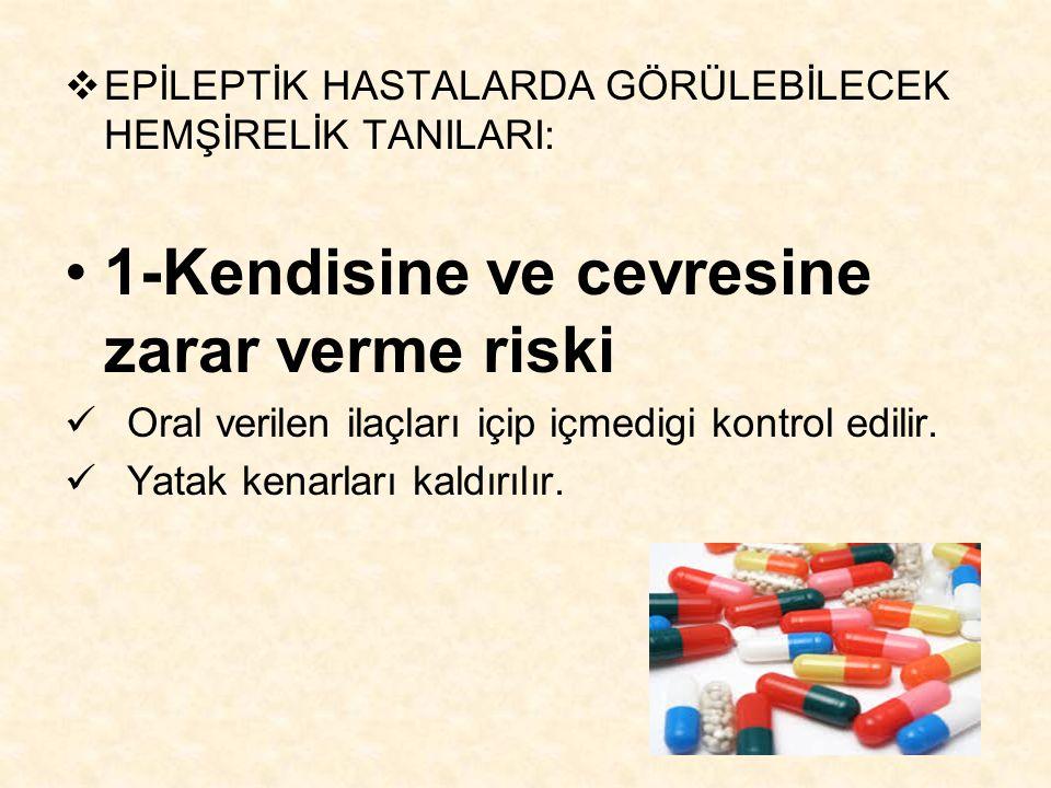  EPİLEPTİK HASTALARDA GÖRÜLEBİLECEK HEMŞİRELİK TANILARI: 1-Kendisine ve cevresine zarar verme riski Oral verilen ilaçları içip içmedigi kontrol edili