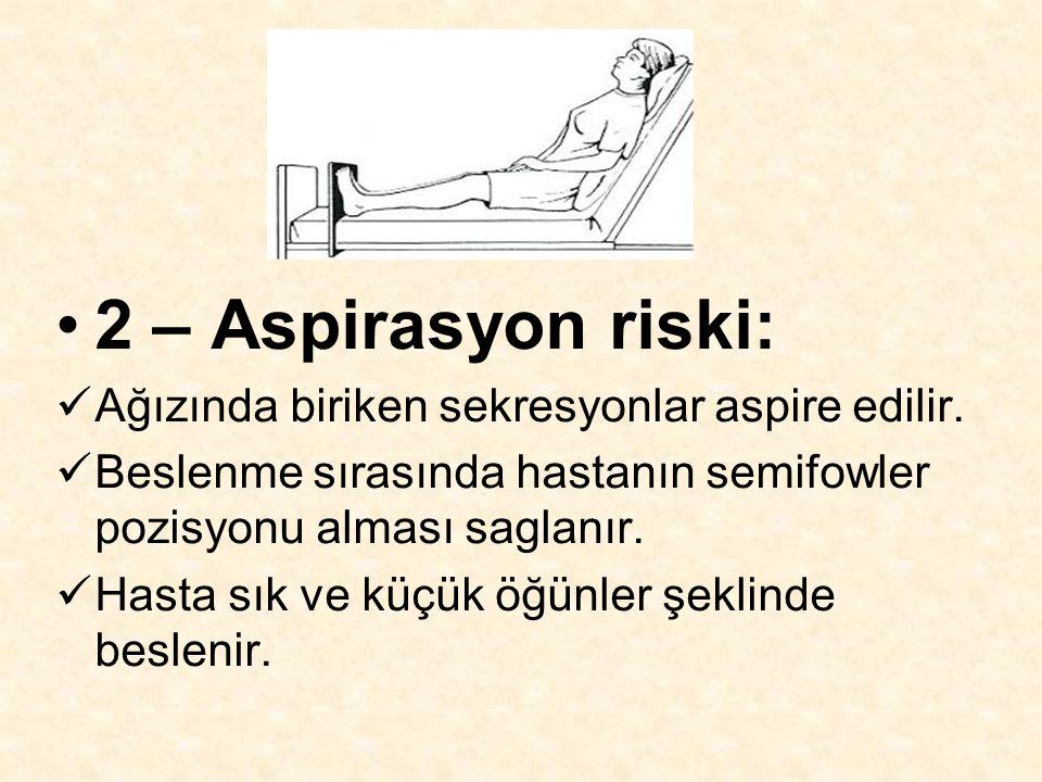 2 – Aspirasyon riski: Ağızında biriken sekresyonlar aspire edilir. Beslenme sırasında hastanın semifowler pozisyonu alması saglanır. Hasta sık ve küçü