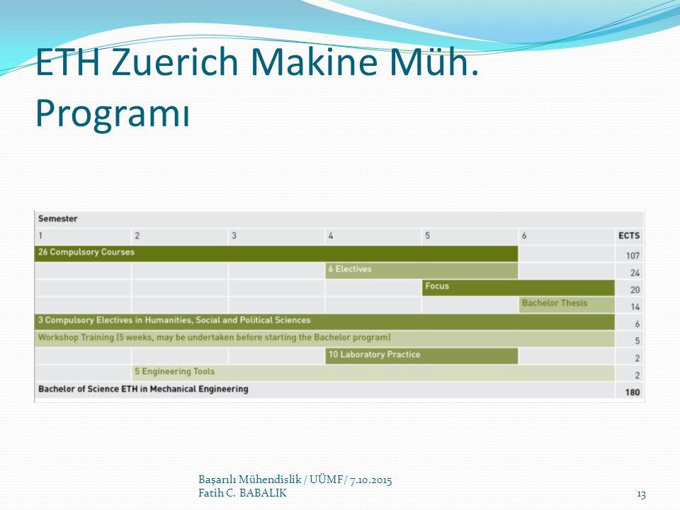 ETH Zuerich Makine Müh. Programı Başarılı Mühendislik / UÜMF/ 7.10.2015 Fatih C. BABALIK13